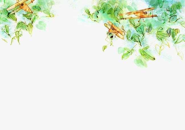 卡通手绘绿叶植物