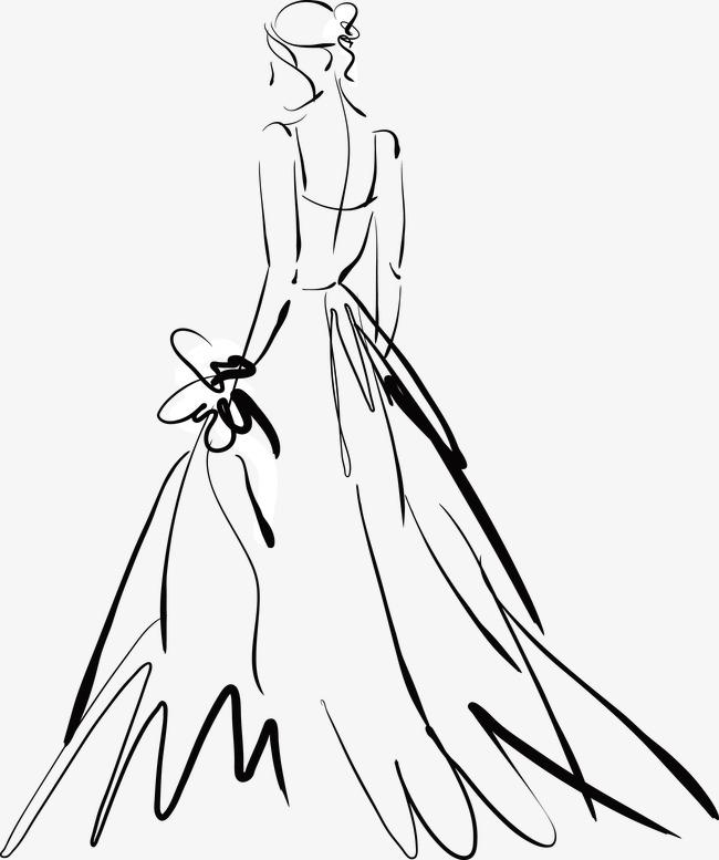 手绘婚纱背影素材图片免费下载_高清装饰图案psd_千库网(图片编号