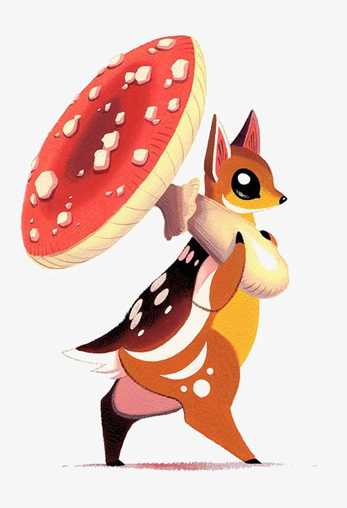 手绘 卡通 动物 红色蘑菇 毒蘑菇 小狐狸小松鼠             此素材