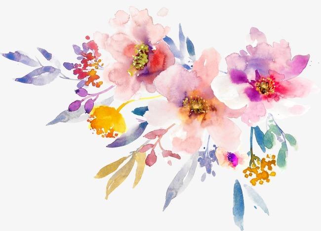 手绘水彩春天花朵【高清装饰元素png素材】-90设计