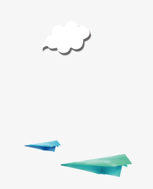 卡通云朵纸飞机png素材-90设计