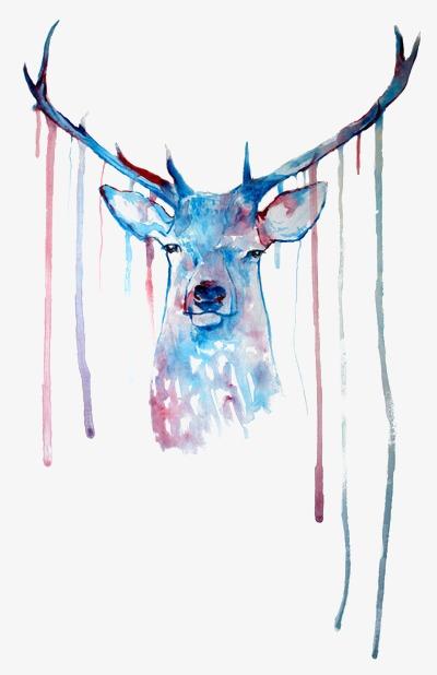 彩色手绘麋鹿