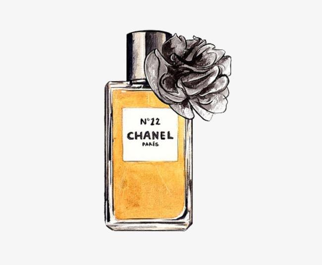 手绘黄色香水瓶【高清装饰元素png素材】-90设计