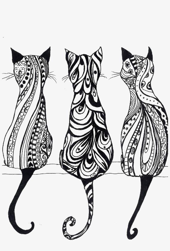 黑白线条稿猫咪