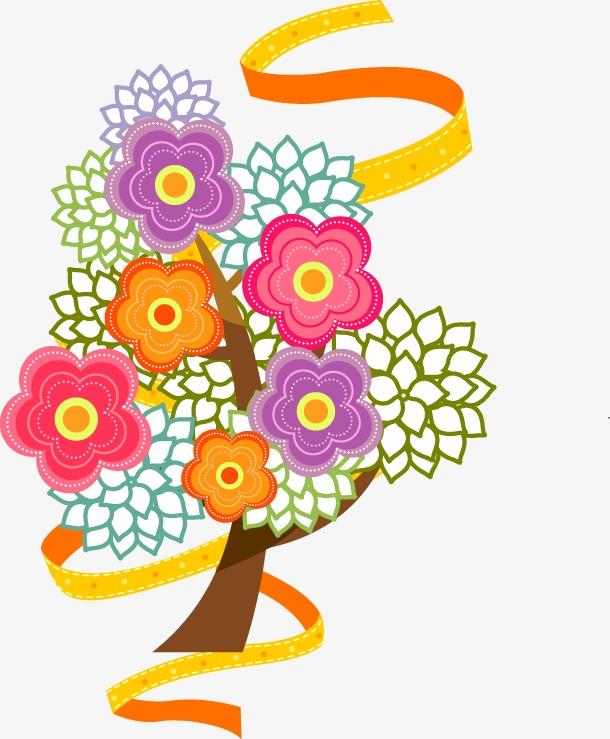 手绘彩色花朵飘带图案