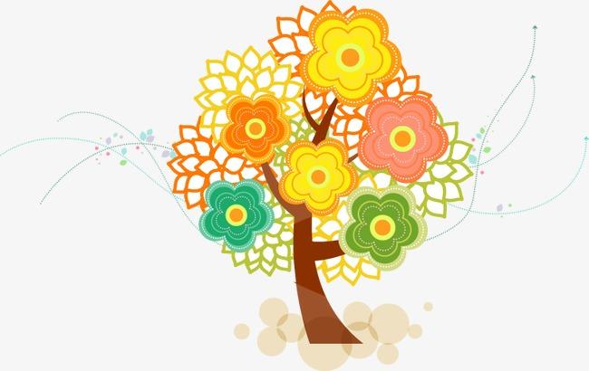 手绘彩色花朵大树图案