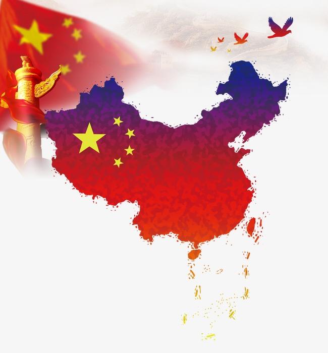 国庆节建党节建军节红色中国地图国旗国柱和平鸽素材