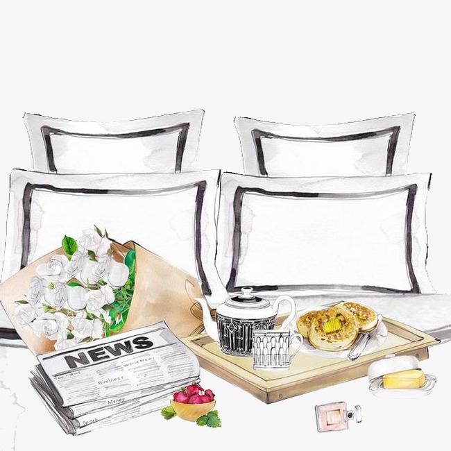 花束 报纸 下午茶 手绘 水彩 小清新免扣素材 手机端:女生桌子