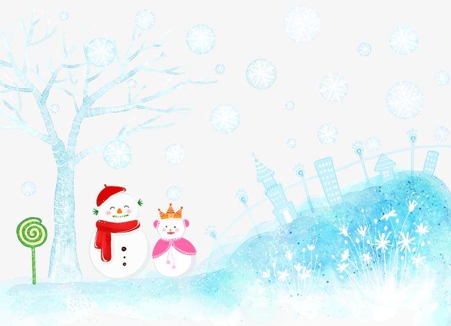 卡通手绘雪景