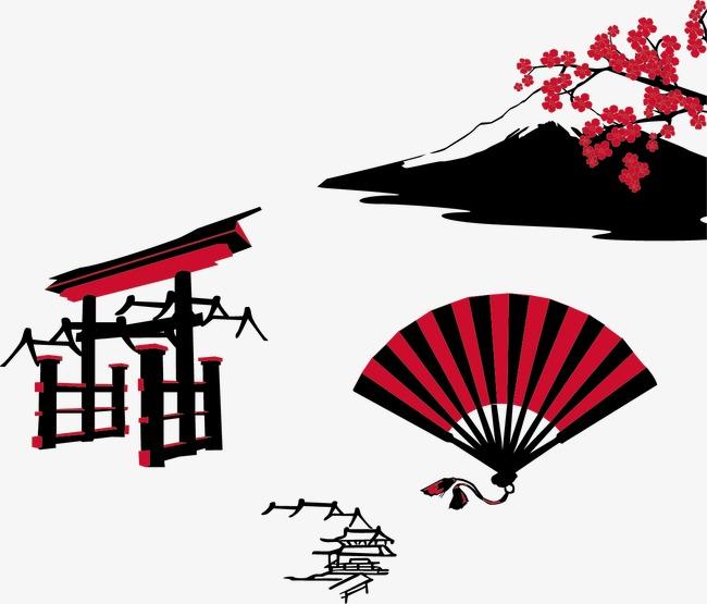 手绘插画  寿司  桃花  插画  日本   经典日本元素 手绘