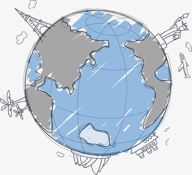 手绘简约线条地球素材图片免费下载_高清装饰图案png图片