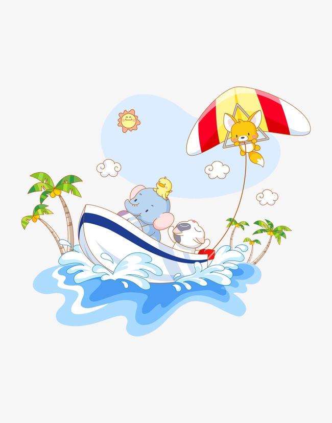 卡通动物航海场景画