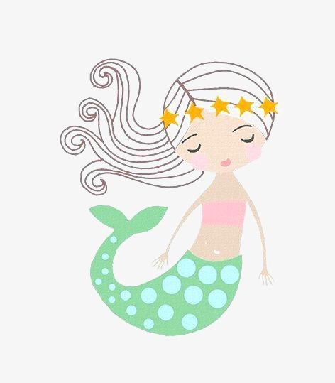 手绘 卡通 小女孩美人鱼 卡通人鱼             此素材是90设计网