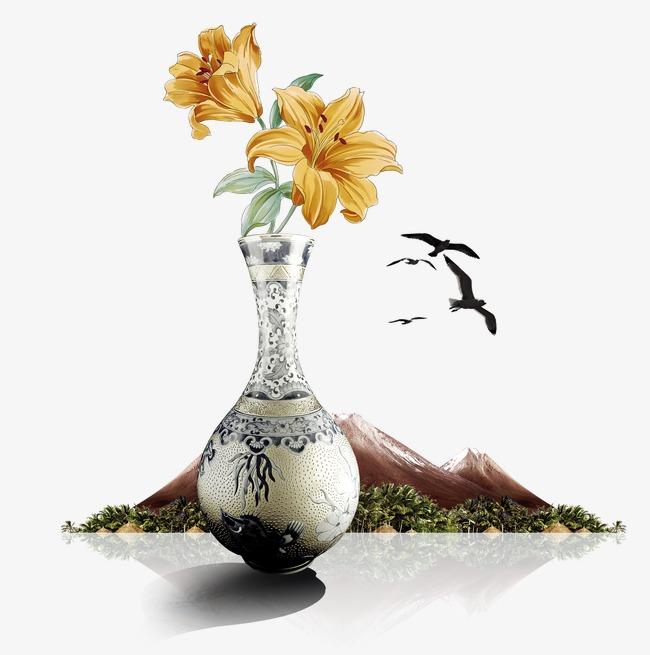中国风复古花瓶手绘花大雁高山素材图片免费下载 高清装饰图案psd 千库网 图片编号3117920