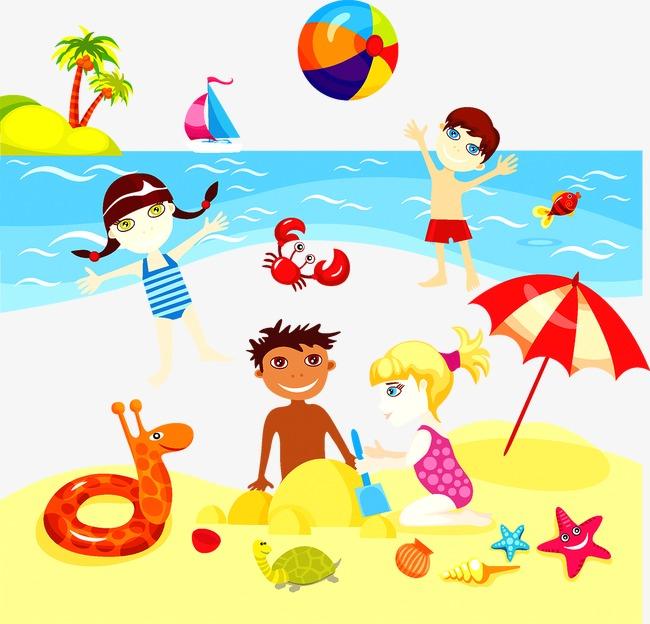 小孩沙滩玩耍【高清装饰元素png素材】-90设计图片