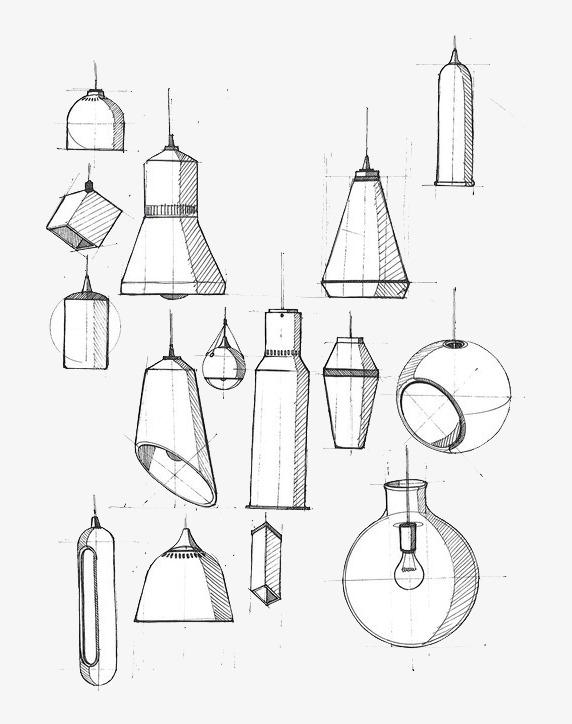 灯具设计手绘线稿