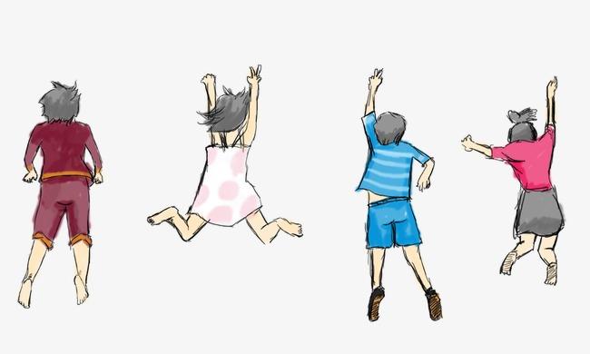 跳跃孩子 手绘背影