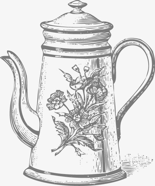 手绘花朵水壶图案