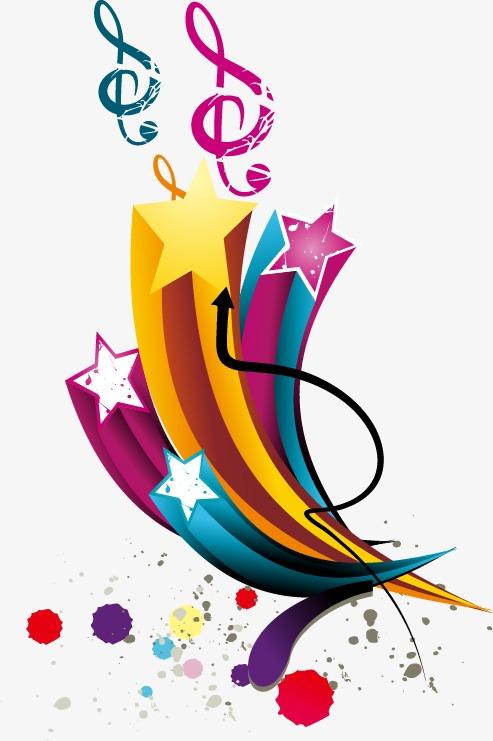 手绘彩色星星柱子音乐符号【高清装饰元素png素材】