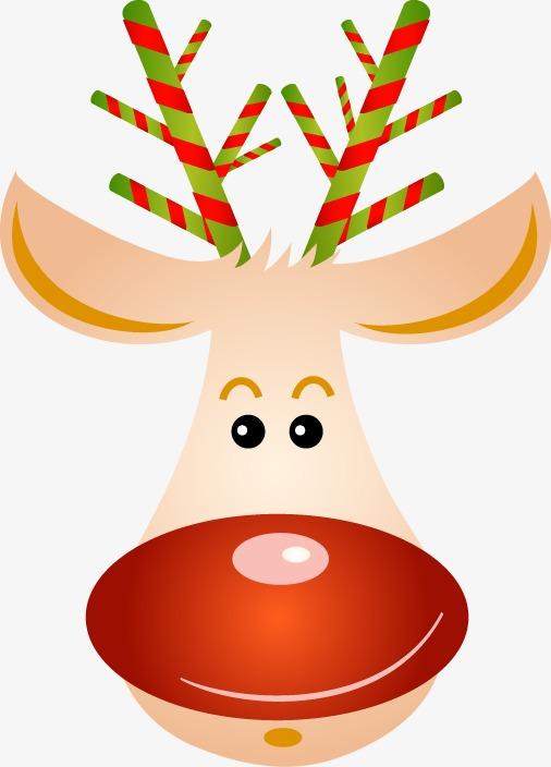 手绘彩色鹿角麋鹿图案