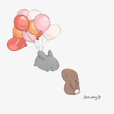 兔子 儿童 童话 气球 插画 卡通 手绘 文艺 清新             此素材