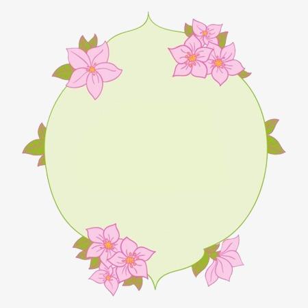 简约粉色小花手绘边框图案