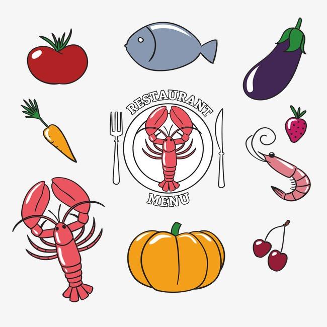 简笔画精美小龙虾食物图标