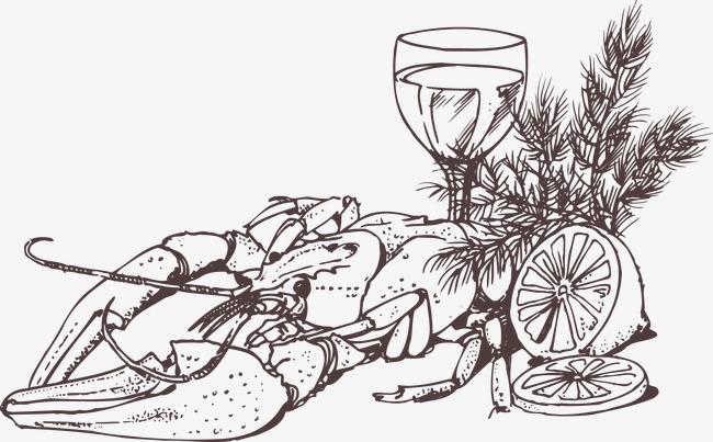 手绘啤酒小龙虾线稿素材图片免费下载 高清装饰图案psd 千库网 图片编号3151071