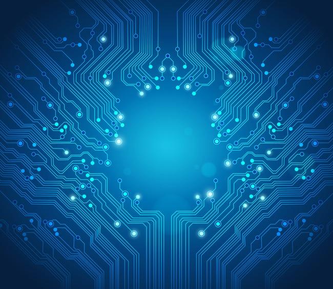 蓝色电路电子元件光效