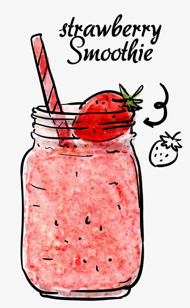 水彩手绘饮品水彩手绘饮品粉色冰沙