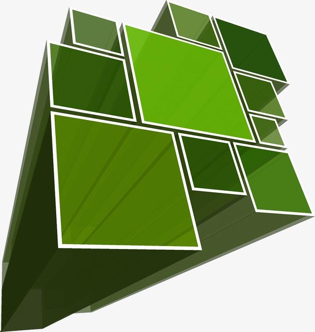 绿色立体正方形