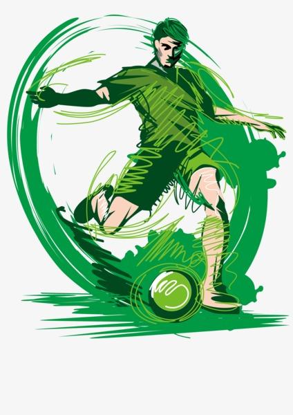 手绘踢足球