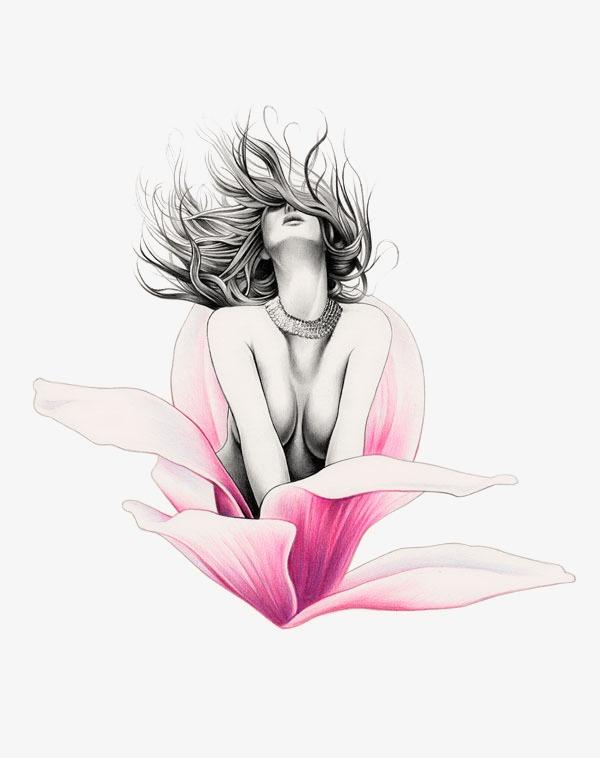 手绘美女素描女性黑白铅笔画粉百合开花性感女性-手绘美女素材图片