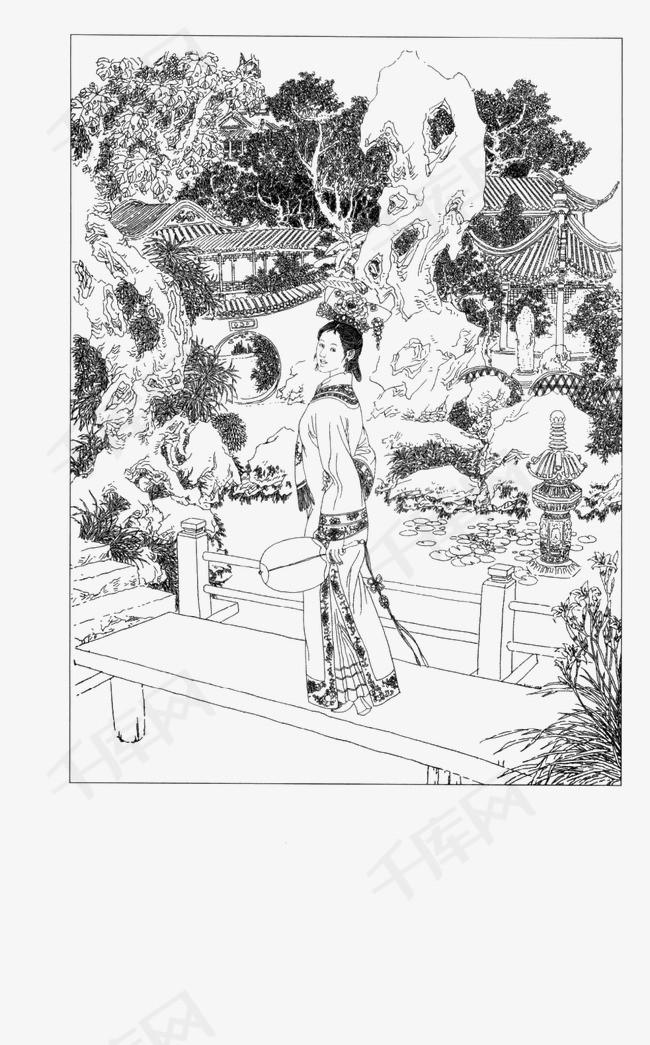 工笔白描仕女人物素材图片免费下载 高清装饰图案png 千库网 图片编号3191958图片