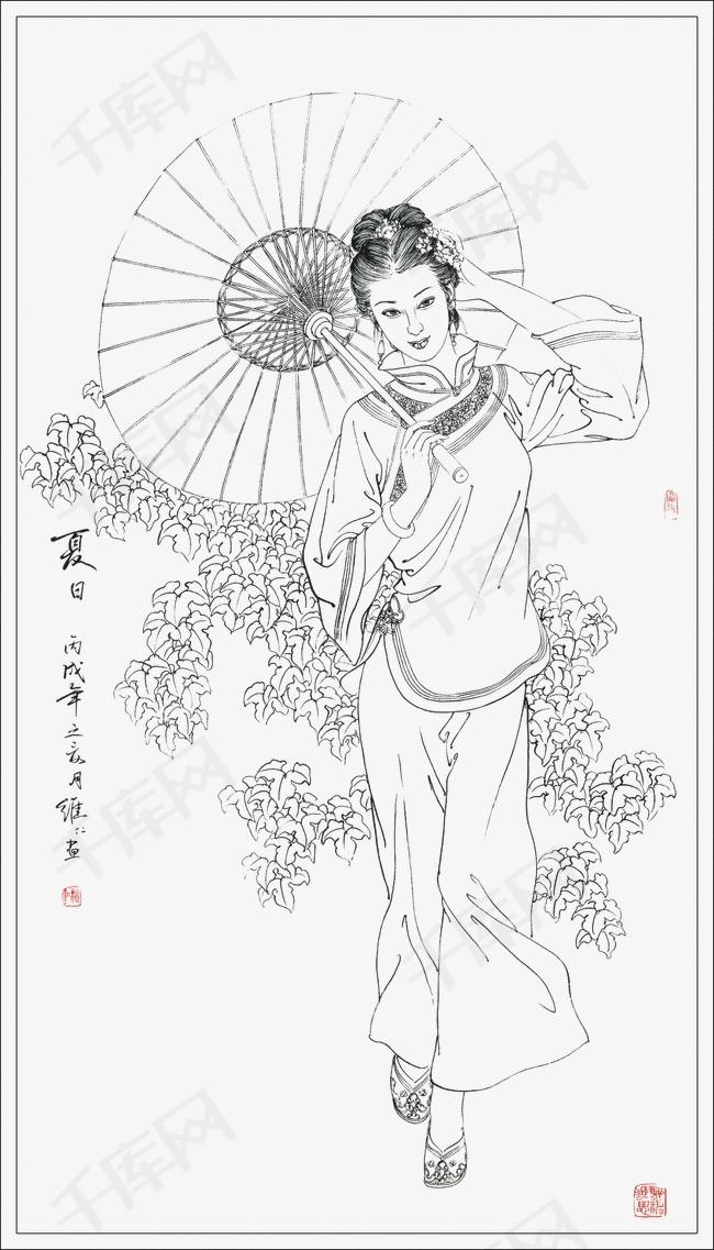 工笔白描仕女人物素材图片免费下载 高清装饰图案png 千库网 图片编号3191959图片