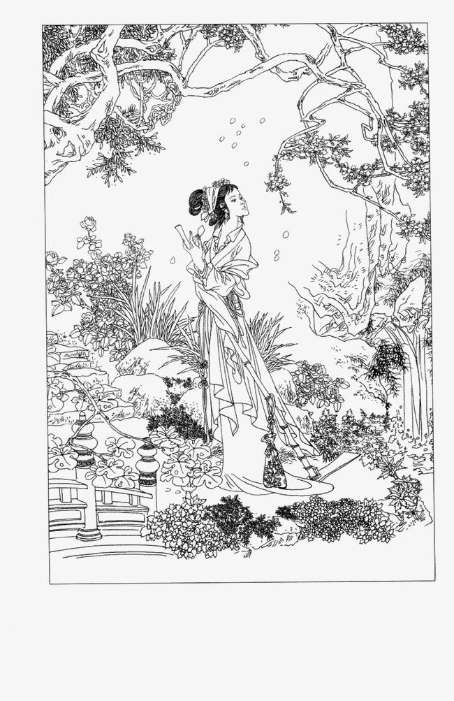 工笔白描仕女人物素材图片免费下载 高清装饰图案png 千库网 图片编图片