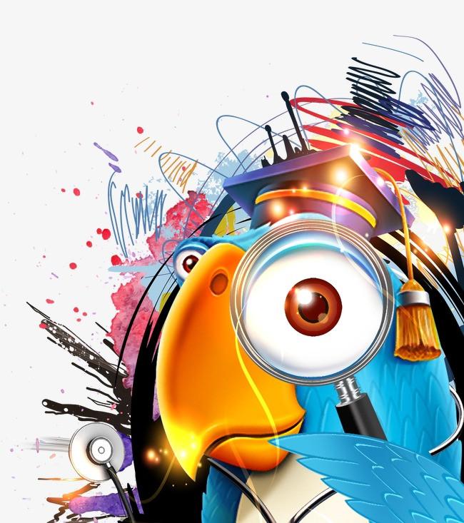 鹦鹉 动物 手绘素材 卡通素材 创意素材 学习素材 博士帽