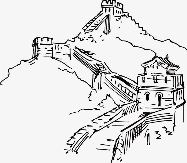 手绘中国长城线稿