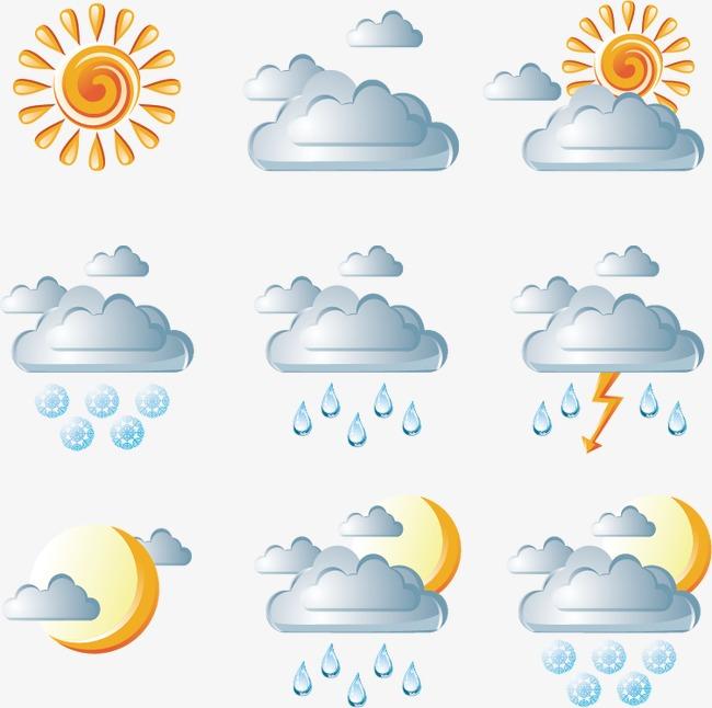 天气图标卡通图标彩色天气云彩月亮太阳多云天气预报图标标签雷雨闪