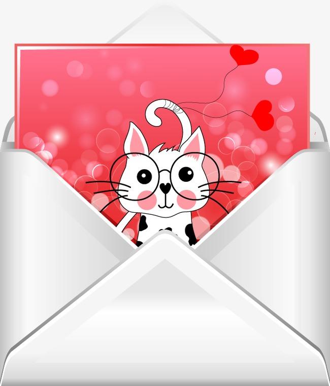 手绘 白色信封粉色猫咪信纸