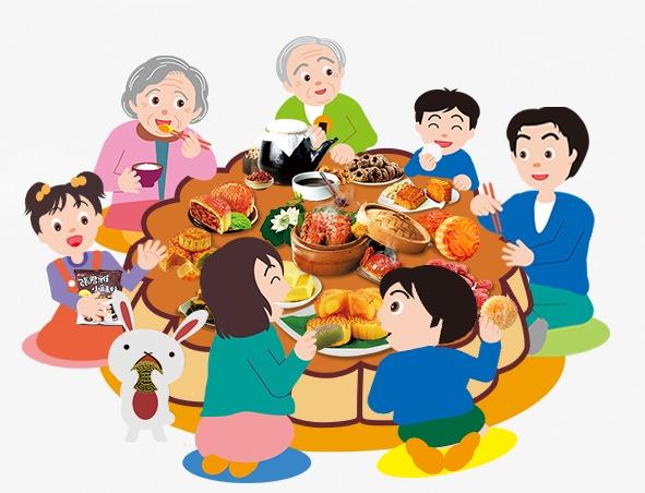 中秋节素材全家欢聚图片