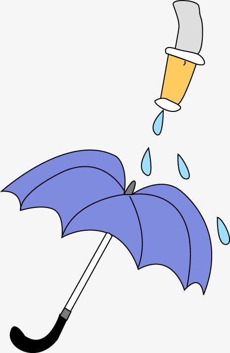 手绘喷水雨伞图案