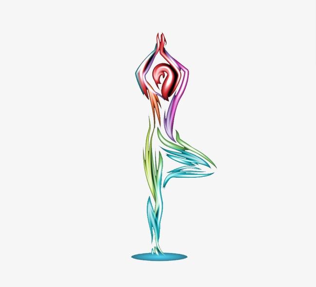 漫画式手绘瑜伽图