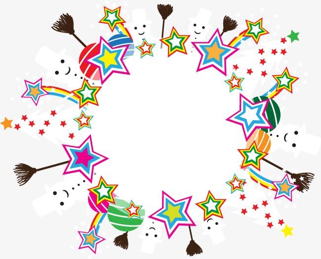 手绘彩色条纹星星图案