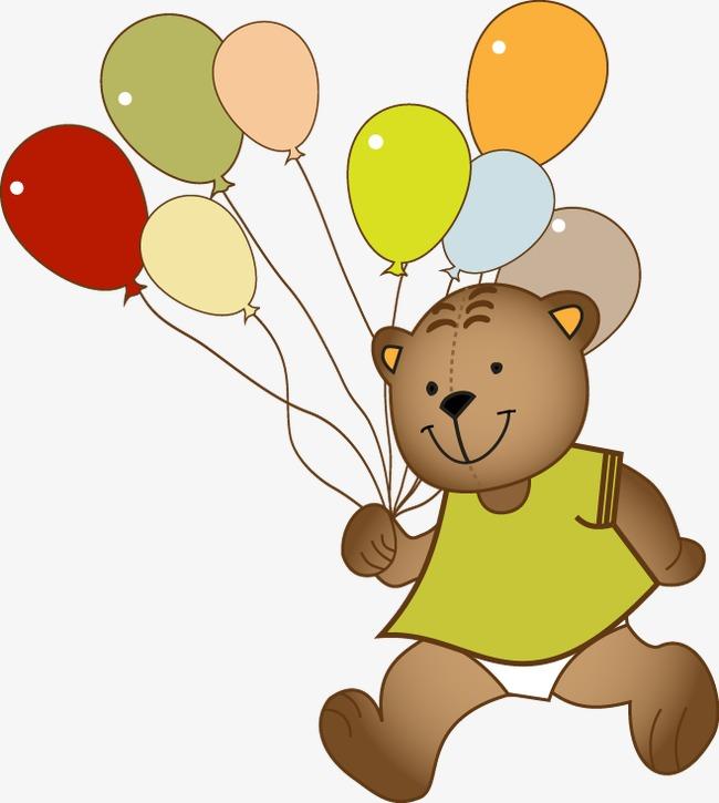手绘卡通小熊气球图案