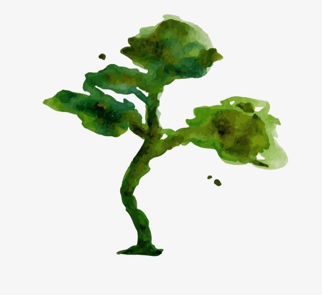 手绘水粉树