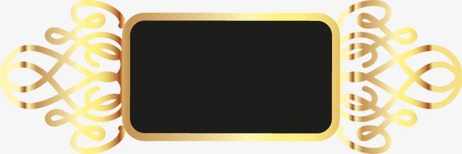 手绘黑底方形金色边框花纹