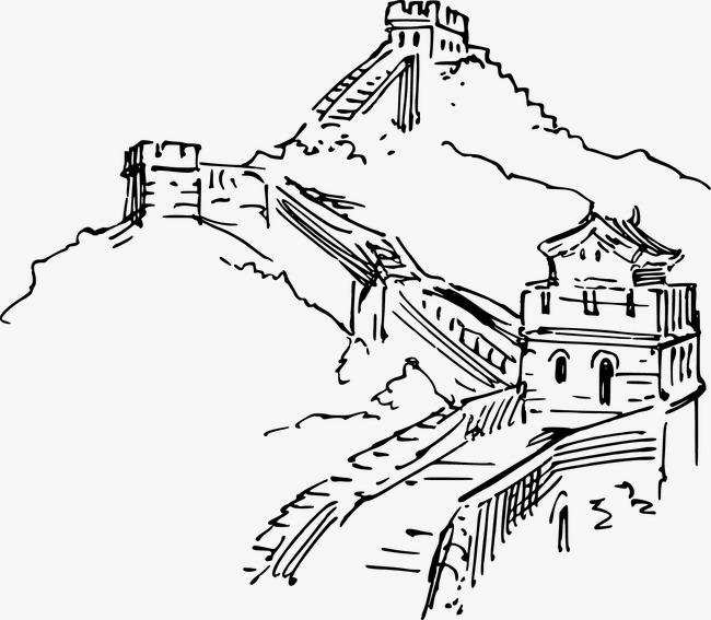 手绘线条长城旅游素材