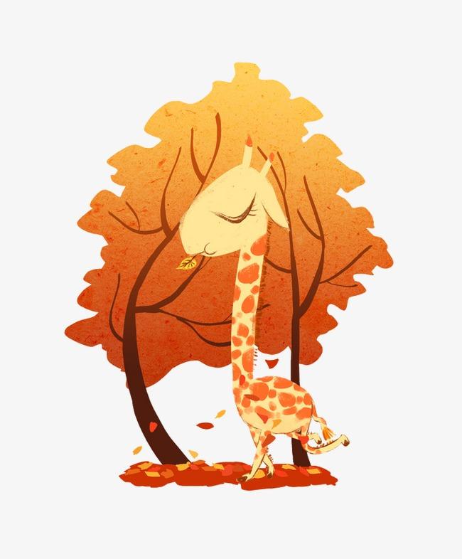 长颈鹿吃树叶png素材-90设计