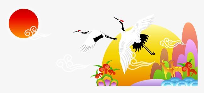 中国吉祥仙鹤卡通中国风元素图片
